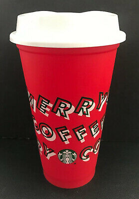 Starbucks 2019 Reusable Holiday Hot Cold Cup 16oz Merry Coffee Red NEW