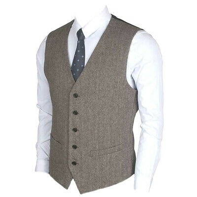 Ruth&Boaz Tweed Wool Suit Vest Waistcoat 2 Pockets 5 Buttons