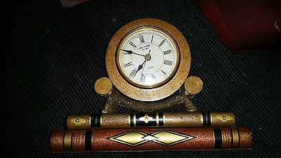 Very Nice Unusual Wm Widdop Round Mantle Clock Resting On False Books Working