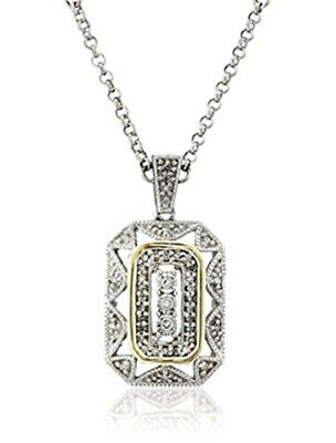 Women's White 14k Yellow Gold Silver Pendant Art Deco Style Drop Necklace