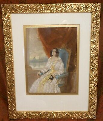 "Great Antique mid19th Century Pastel Portrait Identified As ""Mrs Dr Wellman"""
