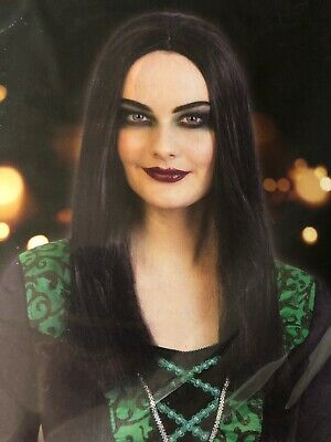 Adult Long Morticia Witch Vampire Wig Ladies Black Halloween Fancy Dress Costume