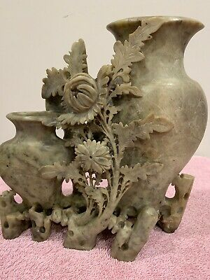 """Vintage Chinese Soapstone Finely Hand-carved Floral Vase, About 7.5"""" X7.5"""""""