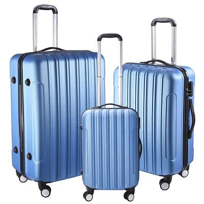 Travel Luggage Set 3pcs Lightweight Trolley Suitcase Lock Hard Case Carry On Bag