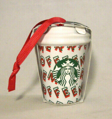 Starbucks 2019 Ceramic Holiday Christmas Ornament * Merry Coffee Cup * Brand New
