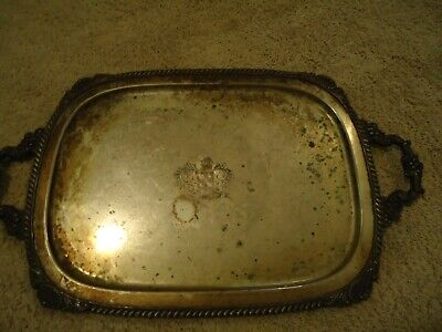 "Vintage English Silver Co. Silver On Copper ""Spero"" Serving Tray With Handle"
