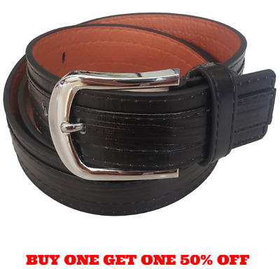 Men's Black On Black Genuine Leather Belt With Removable Screw On Silver Buckle