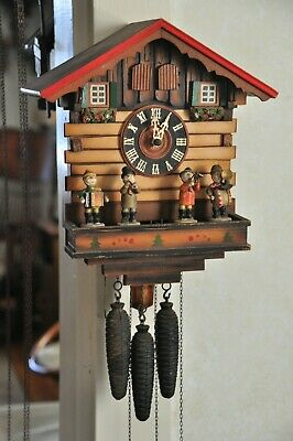 German Musical Cuckoo Clock, with Band. Plays Blue Danube Waltz; See Video
