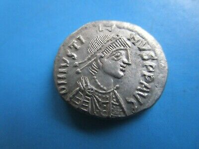 Justinian I 527-565. Silver Coin.saint Hold Cross And Spear.nice Coin
