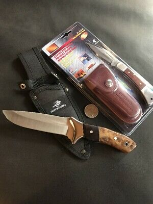 Winchester Knife And Pocket Knife With Leather Pouch - Bulk Factory 2nds Sale