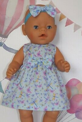 """Dolls Clothes to fit 17"""" Baby Born Blue Dress with Butterflies"""