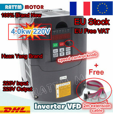 〖FRA〗4KW 220V VFD Inverter Variable Frequency Drive speed control 5HP 18A+Cables