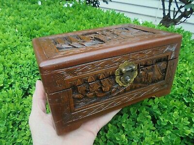 Vintage Hand Carved Camphor Wood Jewellery Box Sail Boats & Ginkgo Forest