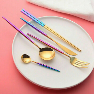 5Pcs/Set Rainbow Stainless Steel Flatware Kitchen Cutlery Fork Spoon Dining Bar