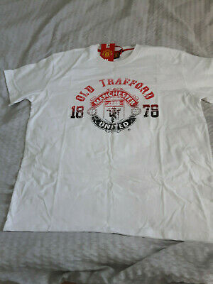 Vintage Manchester United White Short Sleeve T-Shirt.Size XL. Brand New With Tag