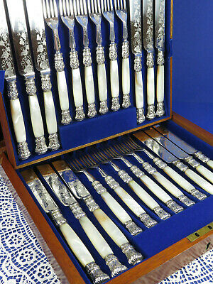 Beautiful Antique Edwardian Mother Of Pearl Fruit Cutlery Engraved Set 24 Pieces
