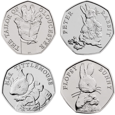 2018 Beatrix Potter 4 x Coin Set BU 50p Flopsy Tailor Peter Rabbit Tittlemouse.