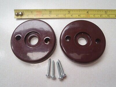 2 Brown Plastic Door Knob Back Plates 55 Mm Dia May Suit Bakelite Door Knobs.