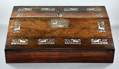 ANTIQUE ROSEWOOD WRITING SLOPE WITH MOTHER OF PEARL INLAY c1835-1840