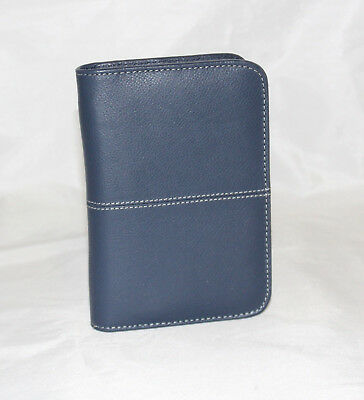 Organiser Small Shoulder Bag Real Blue Leather Document Holder Weave Man Woman