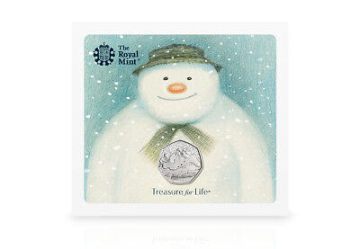 Royal Mint 2018 The Snowman Christmas 50p coin BUNC Presentation Pack