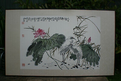 Very Large Chinese Ink & Watercolour Painting Scroll - Signed - Wooden Framed