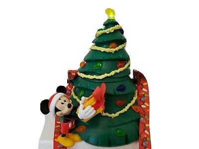 "Disney Parks Mickey Mouse Christmas Tree Light up Popcorn Bucket H  10"" New"