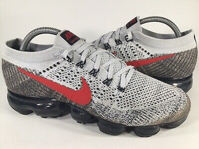 Nike Air Vapormax Flyknit Pure Platinum Red Grey White Size 8.5 Rare 849558-020