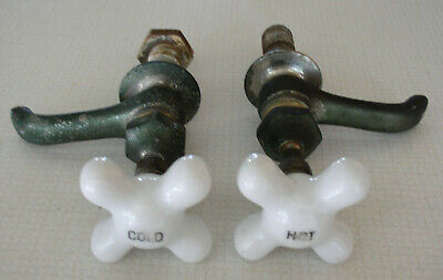 Old White Porcelain Hot/Cold Knobs W/ Faucets