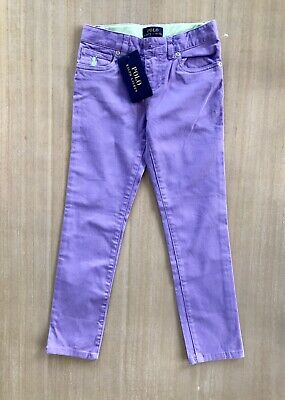 Ralph Lauren Girls Purple Lilac Chino Trousers Jeans Slim Straight Leg - Age 6