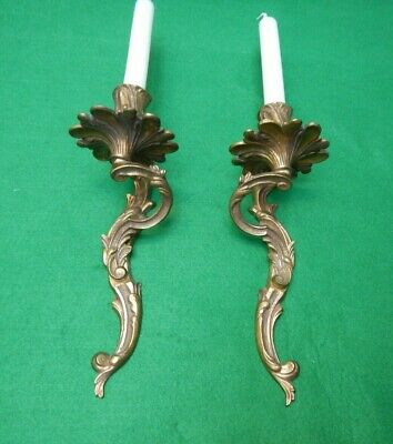 Vintage French pair of  wall candles bronze rococo
