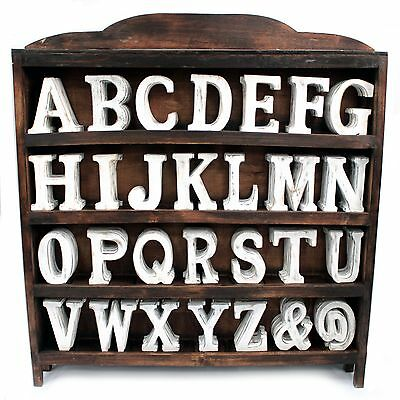 LARGE SHABBY CHIC RETRO WHITE WOODEN LETTERS A-Z INITIALS WORDS 15cm
