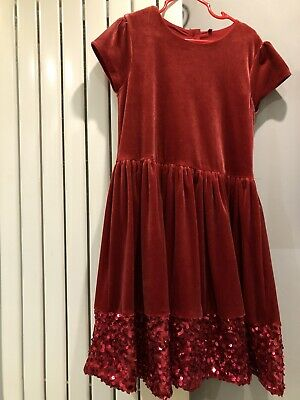 Girls Marks And Spencer's Party Dress Red Velvet Feel With Cotton Lining