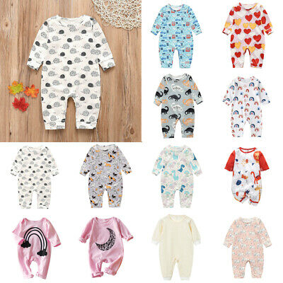 Newborn Kid Baby Boys Girls Rompers Cute Autumn Clothes Jumpsuits Bodysuit Lot