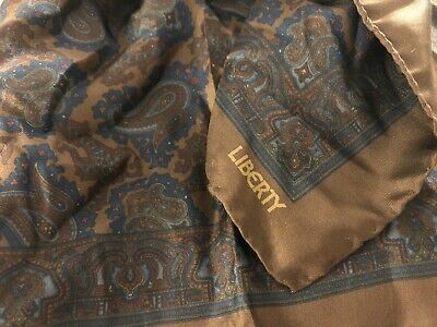 liberty silk pocket square Blue And Brown