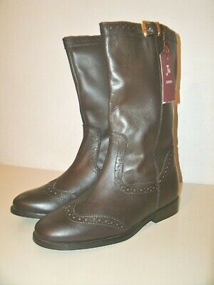 BNWT TU Brown Genuine Leather Boots Girls Size 1 Riding Style Brogues