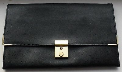 Document Wallet Passport Wallet Black Leather Retro Made in England Preloved