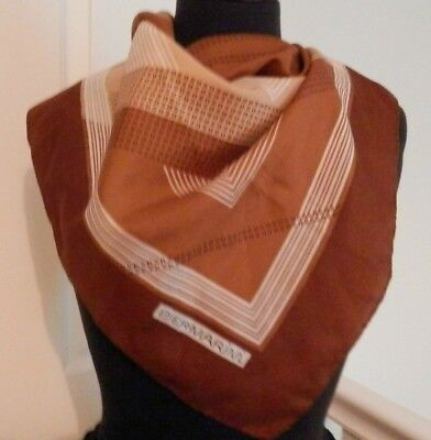 Piermarini Headscarf Brown Italy Vintage Goemetric Scarf Collectable Preloved