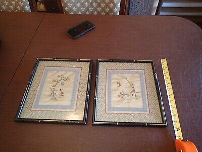 Two Vintage Chinese /Japanese Silk Pictures Hand Embroidered Butterfly & Flower