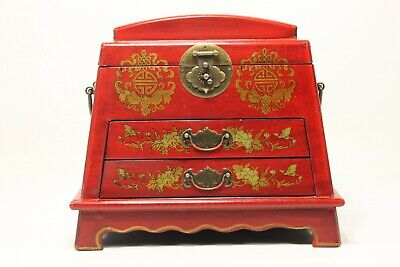 Vintage Chinese Jewelry Keepsake box W. Leather Surface - Preowned - Preowned