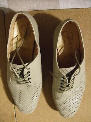 Mens Beige Leather Dance Shoes By Fyna Size 8.5