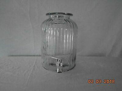 Large Heavy Ribbed Clear Glass Water Wine Jug Jar Dispenser With Spigot