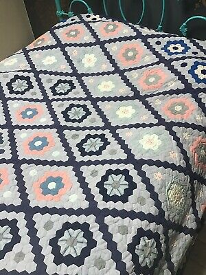 Vintage Patchwork quilt immaculate large hand stitched folk art scandi