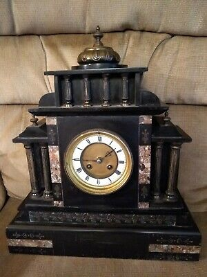 *Antique French Inlay Marble And Slate Mantle Pendulum Clock Simply Beautiful!*