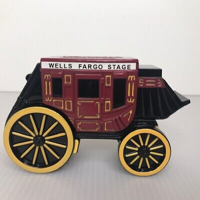 New! 1998 Wells Fargo Stagecoach Metal Diecast Coin Piggy Bank w/ Keys Vintage
