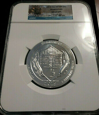 2015 5oz SILVER 25C Homestead NGC MS 69 DPL Proof like Early Releases must see!