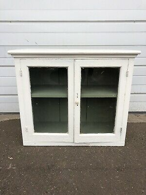 Antique Vintage Medicine Cabinet Cupboard With Glass Window And Door White Paint
