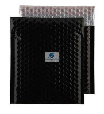 Black Metallic Bubble Wrap Lined Padded Mailing Gift Envelope / Bag CD Size
