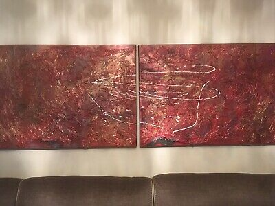 Large Double Canvas Hand Crafted Vintage 15 Yrs Old Painting 100cm by 70cm X 2