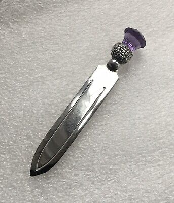 Antique Sterling Silver Scottish Amethyst Thistle Topped Bookmark - 1910